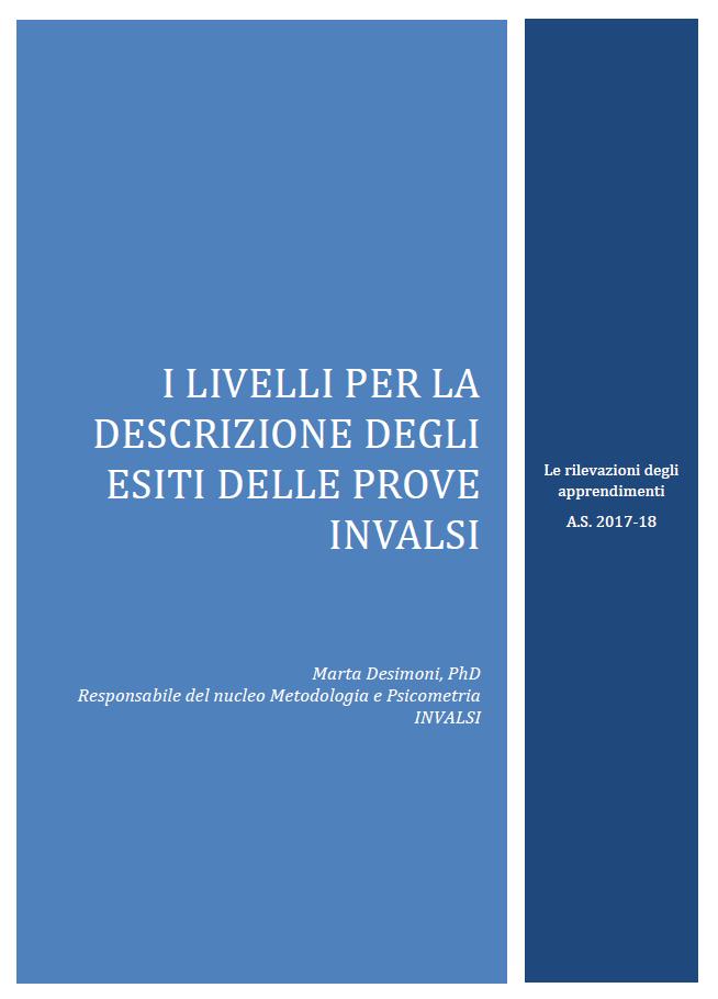 Copertina di I livelli per la descrizione degli esiti delle prove INVALSI