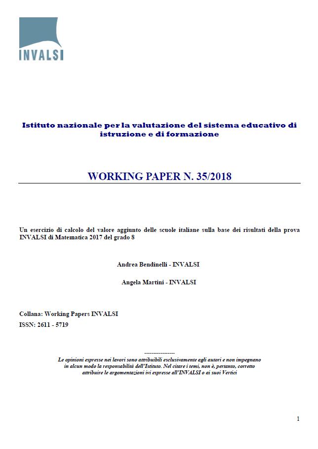 Copertina di Un esercizio di calcolo del valore aggiunto delle scuole italiane sulla base dei risultati della prova INVALSI di Matematica 2017 del grado 8