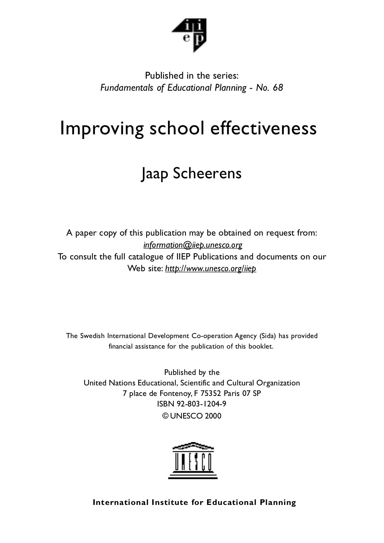 Copertina di Improving school effectiveness