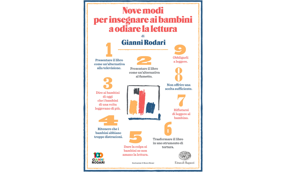 Infografica: Gianni Rodari - Nove modi per insegnare ai bambini a odiare la lettura