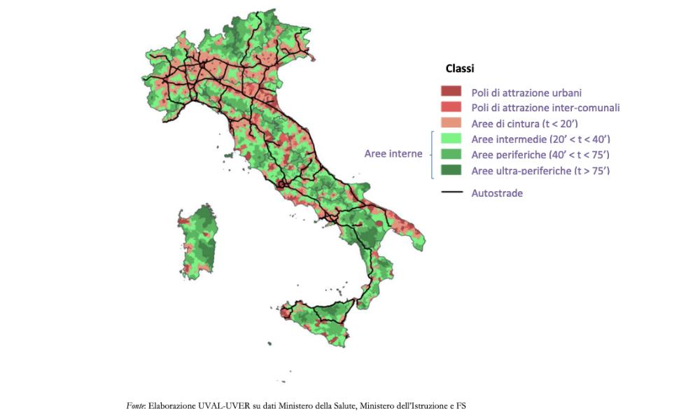 Mappa delle Aree Interne dell'Italia