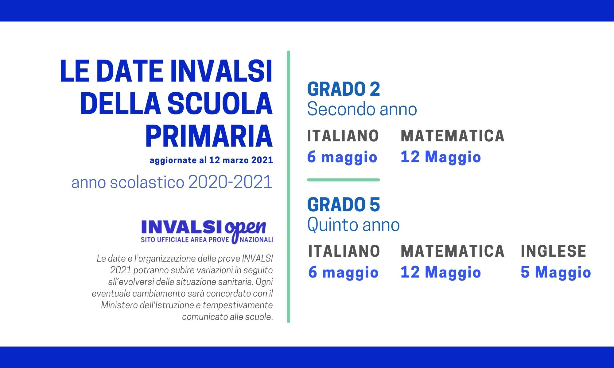 Calendario Prove INVALSI 2021 - Scuola primaria