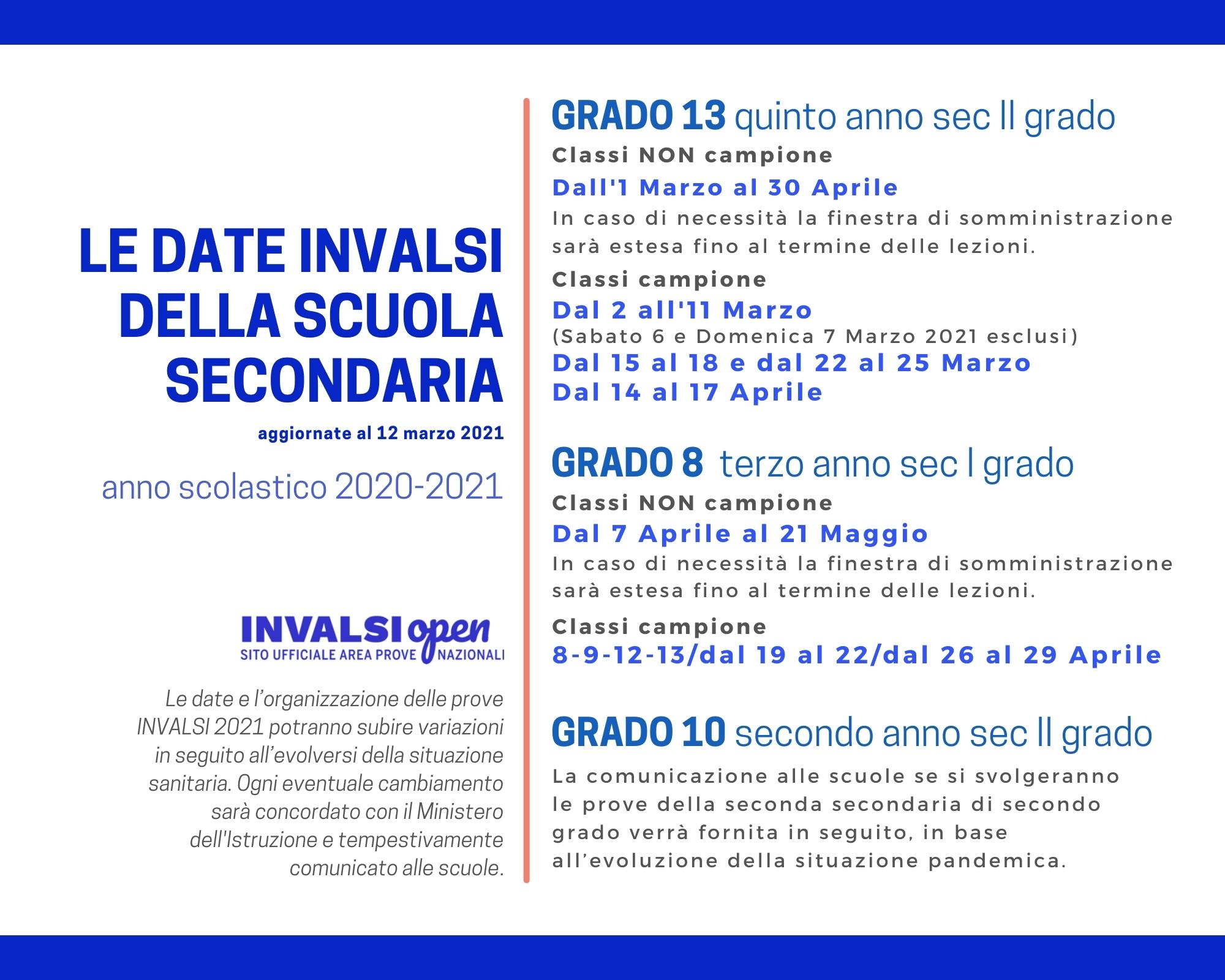 Calendario Prove INVALSI 2021 - Scuola secondaria